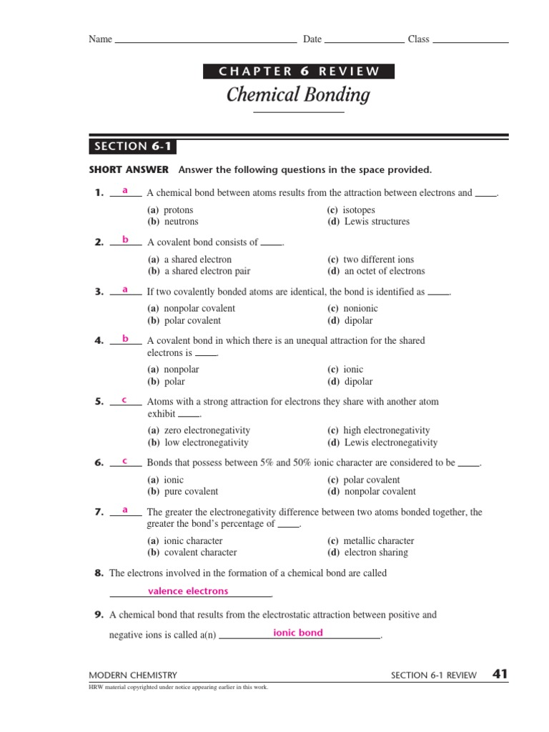 Worksheets Covalent Bonding Worksheet Answers modern chemistry worksheet answers photos toribeedesign chemical bonding ionic bond collection of answers