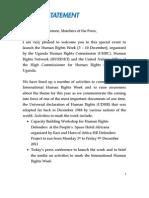 Press Statement Human Rights Week 2011 Final