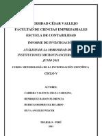 Analisis de La Morosidad en Las Microfinanzas Hasta Junio 2011
