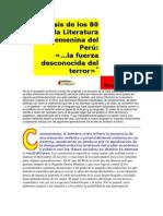 Crisis de los 80 en la Literatura Femenina del Perú