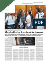 Macri contra las licencias de los docentes (Página 1)