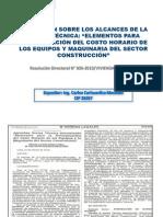 ELEMENTOS s PARA DETERMINACIÓN DEL COSTO HORARIO DE LOS EQUIPOS Y MAQUINARIA DEL SECTOR CONSTRUCCIÓN