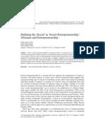 Defining the 'Social' in Social Entrepreneurship