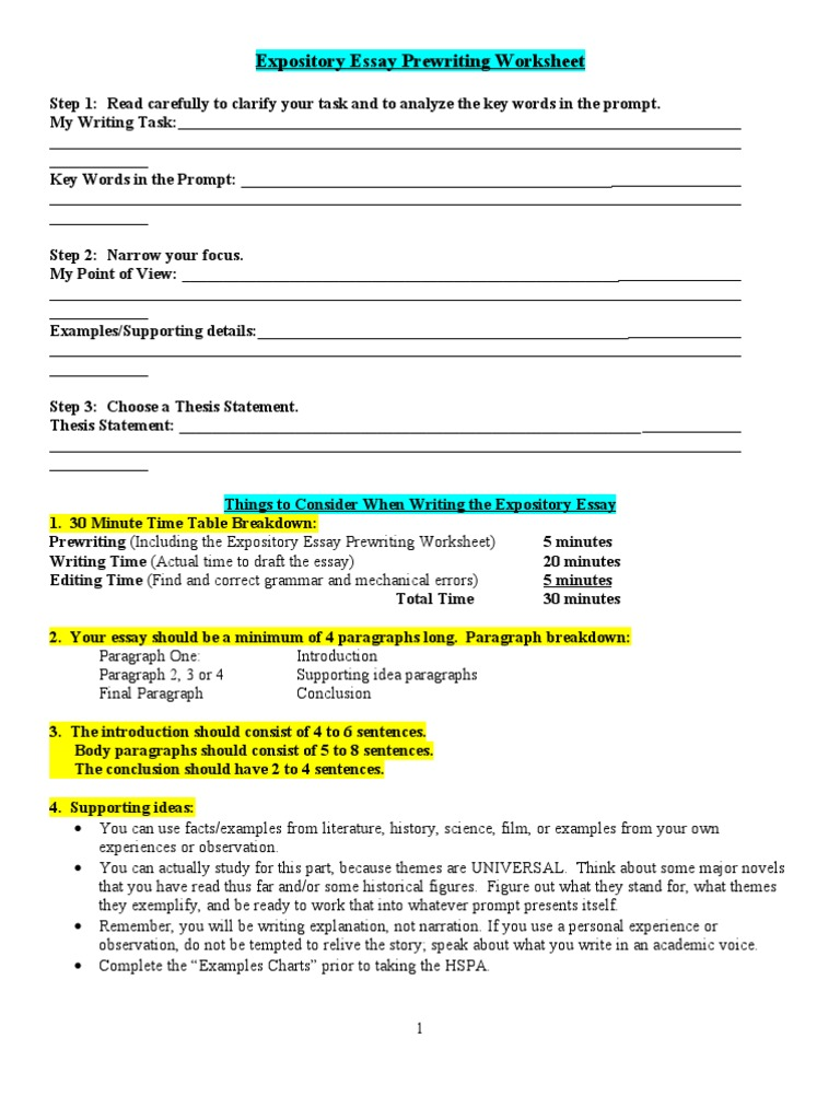 expository essays worksheets