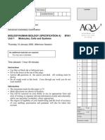 AQA Biol a Unit 1 Jan02