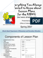 Participants Version Everything You Always Wanted to Know About Lesson Plans for the RISWC