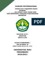 Tugas Ekonomi Internasional 2, Analisis Krisis Ekonomi Amerika n Dampak Di Indonesia