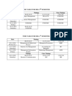 Time Table for Mba 3rd Semester