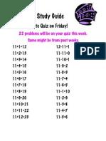Math Study Guide 11's