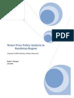 Water Price Policy Analysis in Kurdistan Region