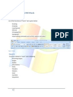 Functions of Tabs of MS Word