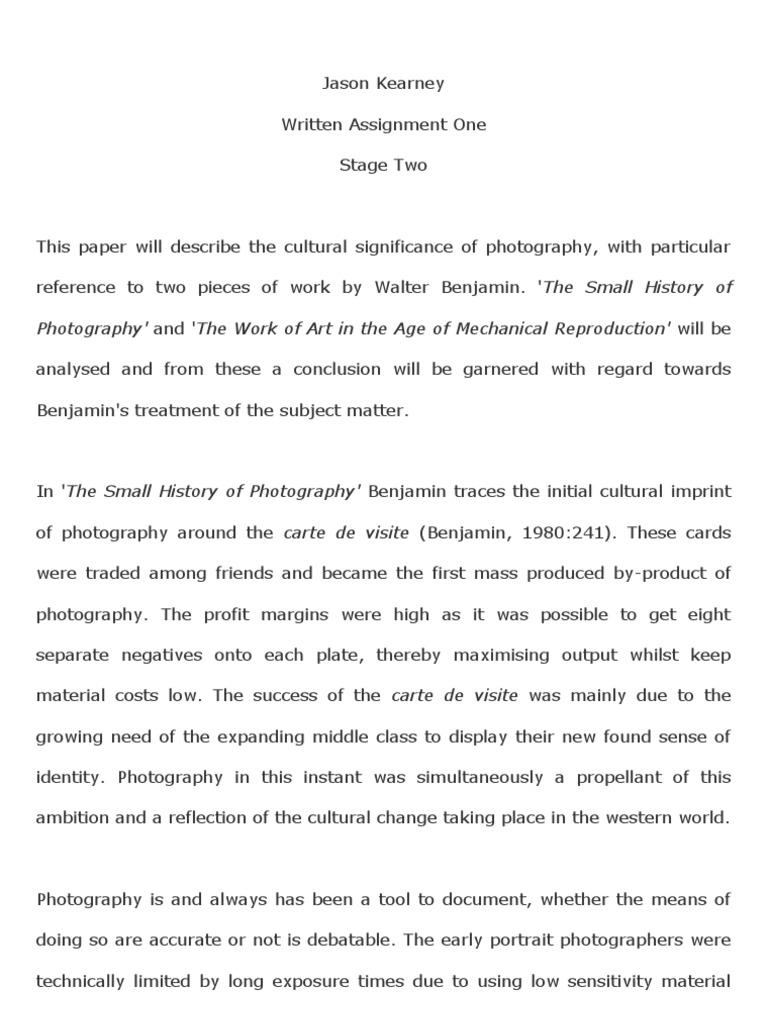 Walter Benjamin Paper
