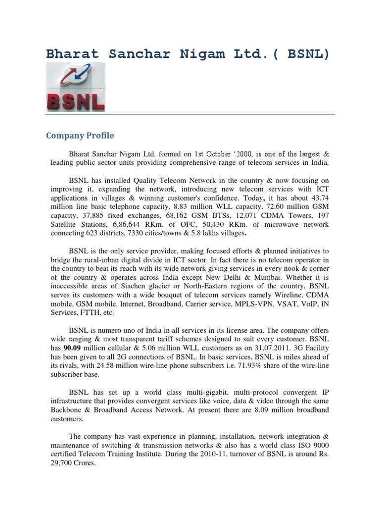 Bsnl Organizational Structure Marketing