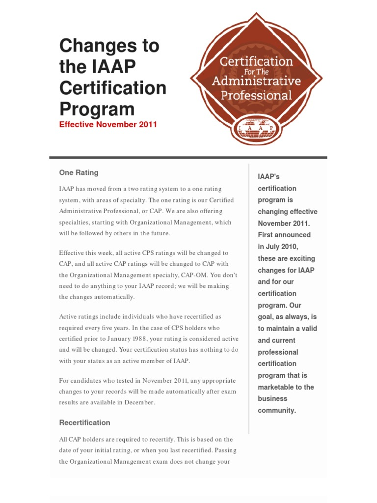 Changes To Iaap Professional Certification Certification