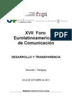 Relatoría XVII Foro Eurolatinoamericano de Comunicación