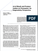 Effects of WOM and Product- Attribute Information on Persuasion an Accessibility Diagnosticity Perspective
