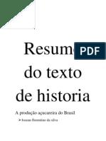 A Producao Acucareira Do Brasil