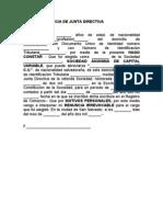 Modelo de Acta de Renuncia de Junta Directiva