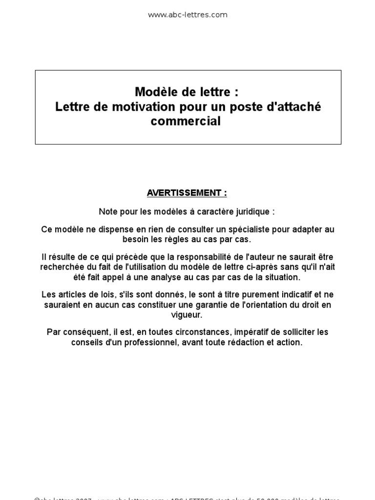 Modèle de lettre: Lettre de motivation pour un poste d ...