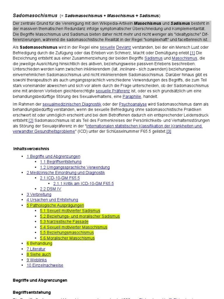 Vorschlag zur Überarbeitung des Wikipedia-Artikels Sadomasochismus