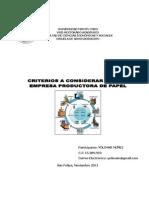 Criterios de Una Empresa Product or A de Papel.