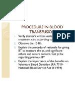Procedure in Blood Transfusion