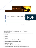 50 Common Unethical Practices