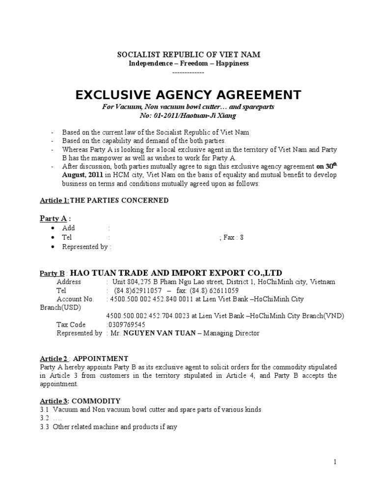 Exclusive Agent Agreement Vietnam War Prices