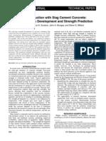 Strength Development and Prediction of GGBS Concrete