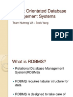 Object Orientated Database Management Systems