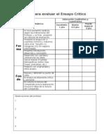 Rúbrica evaluación ensayo crítico