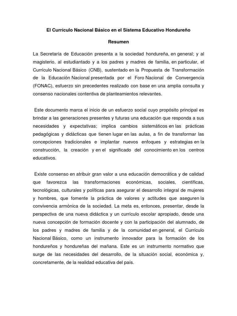 El curr culo nacional b sico en el sistema educativo hondure o for Curriculo basico nacional