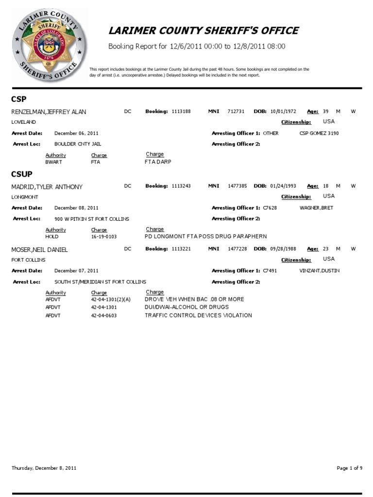 Larimer County Sheriff's Office Arrest Report - Dec  6, 2011