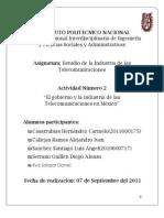 Evidencias Actividad 2 Unidad Temática 2. El gobierno y  la Industria de  Telecomunicaciones(Mexico)