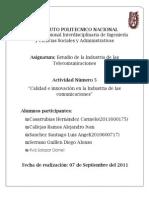Evidencias Actividad 5 Unidad Tematica 5. Calidad e Innovacion en La Industria de Telecomunicaciones (Mexico)