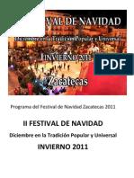 Programa Del Festival de Navidad Zacatecas 2011