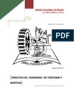 Práctica 5, Teoremas  de Thévenin y Norton