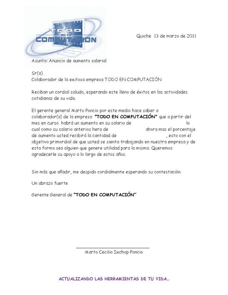 Carta de Anuncio de Aumento Salarial