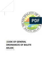 Code of General Ordinances of Balete, Aklan