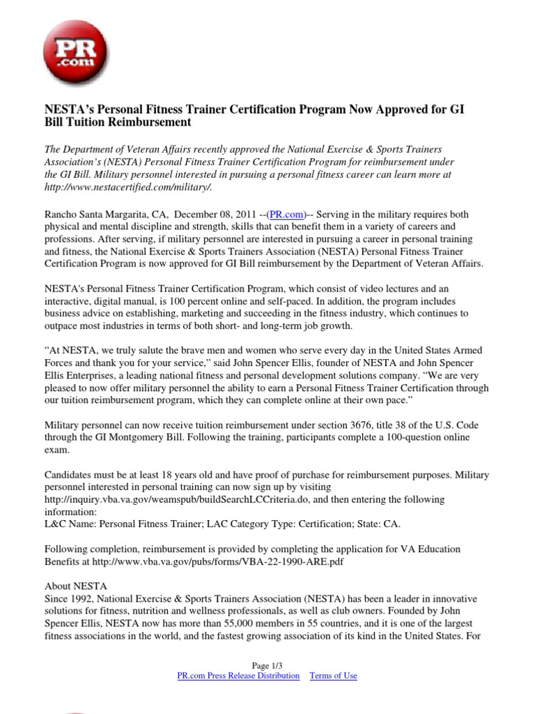 Nestas personal fitness trainer certification program now nestas personal fitness trainer certification program now approved for gi bill tuition reimbursement personal trainer gi bill 1betcityfo Image collections