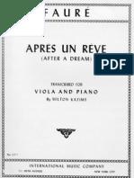 Faure - Apres Un Reve (Transcr for Viola o Cello & Piano)