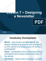 Lesson 7 – Designing a Newsletter