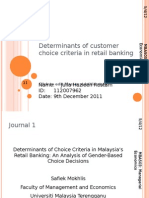 Determinants of Consumer Choice Criteria in Retail Banking