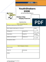 Youth Shakers 08 Registration Form [YOUR NAME]
