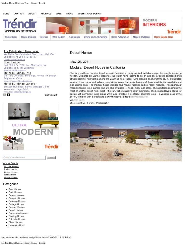 Modern House Designs - Desert Homes _ Trendir | Desert | Interior Design