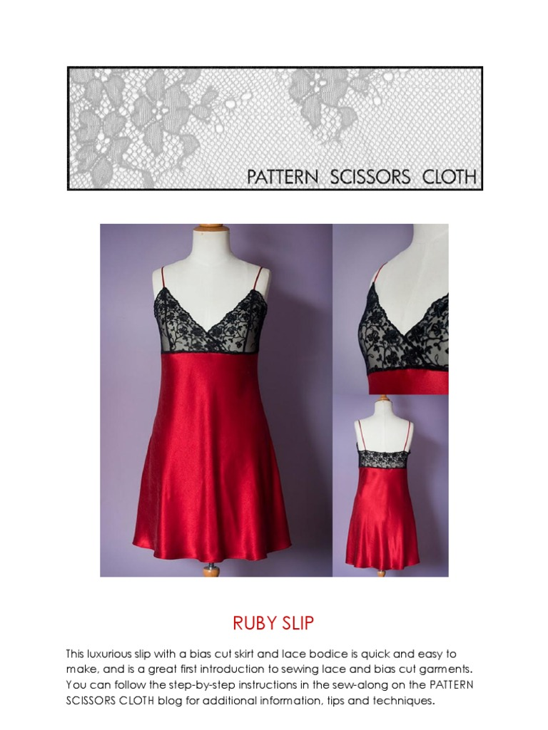 RUBY SLIP Instructions | Seam (Sewing) | Sewing