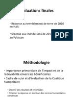 Évaluations finales de la CH en Haiti et au Pakistan 2011