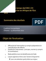 Évaluation en temps réel DEC-CH Réponse à la crise en Afrique de l'Est 2011