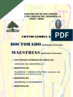 Convocatoria General Doctorado - Maestria