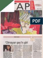 Ahmet Bozkurt, Olmayan Şeyin Şiiri- Gonca Özmen, Cumhuriyet Kitap, 6 Kasım 2008, sayı 977